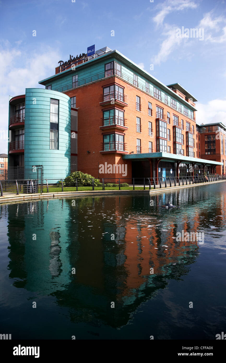 Radisson Blu hotel and water feature on the gasworks site Belfast Northern Ireland UK - Stock Image