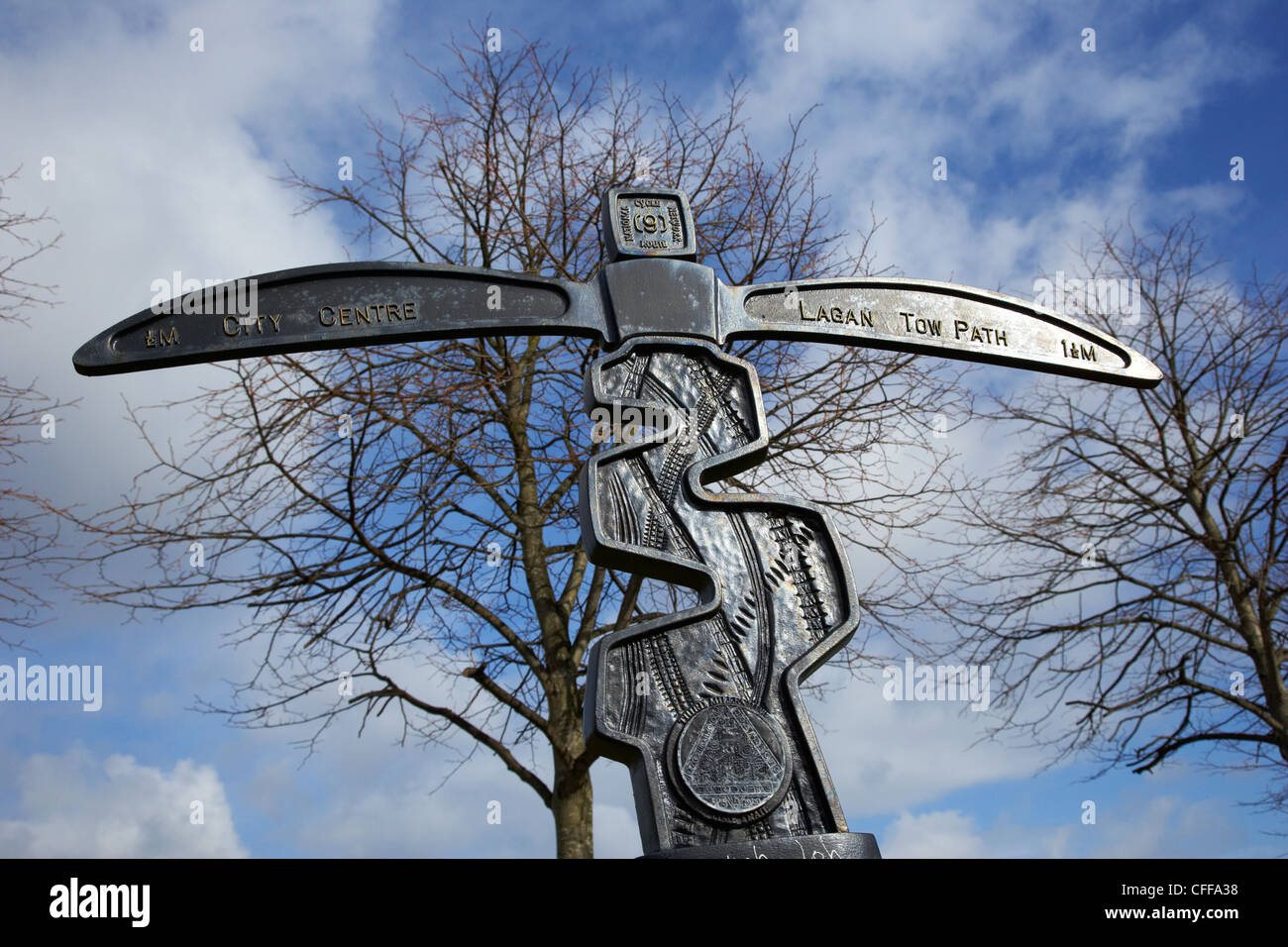 national cycle route 9 at the gasworks site between Belfast city centre and the lagan towpath Northern Ireland UK - Stock Image