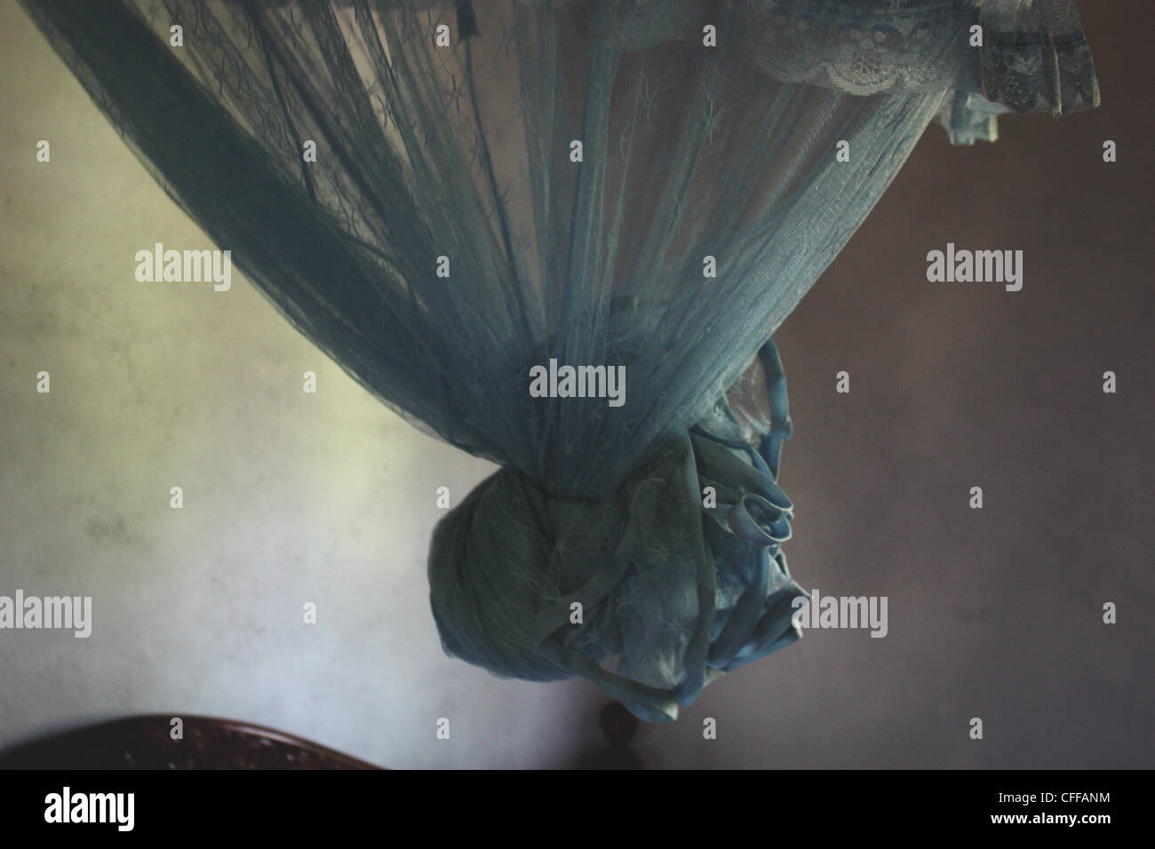 Tied Mosquito Net - Stock Image