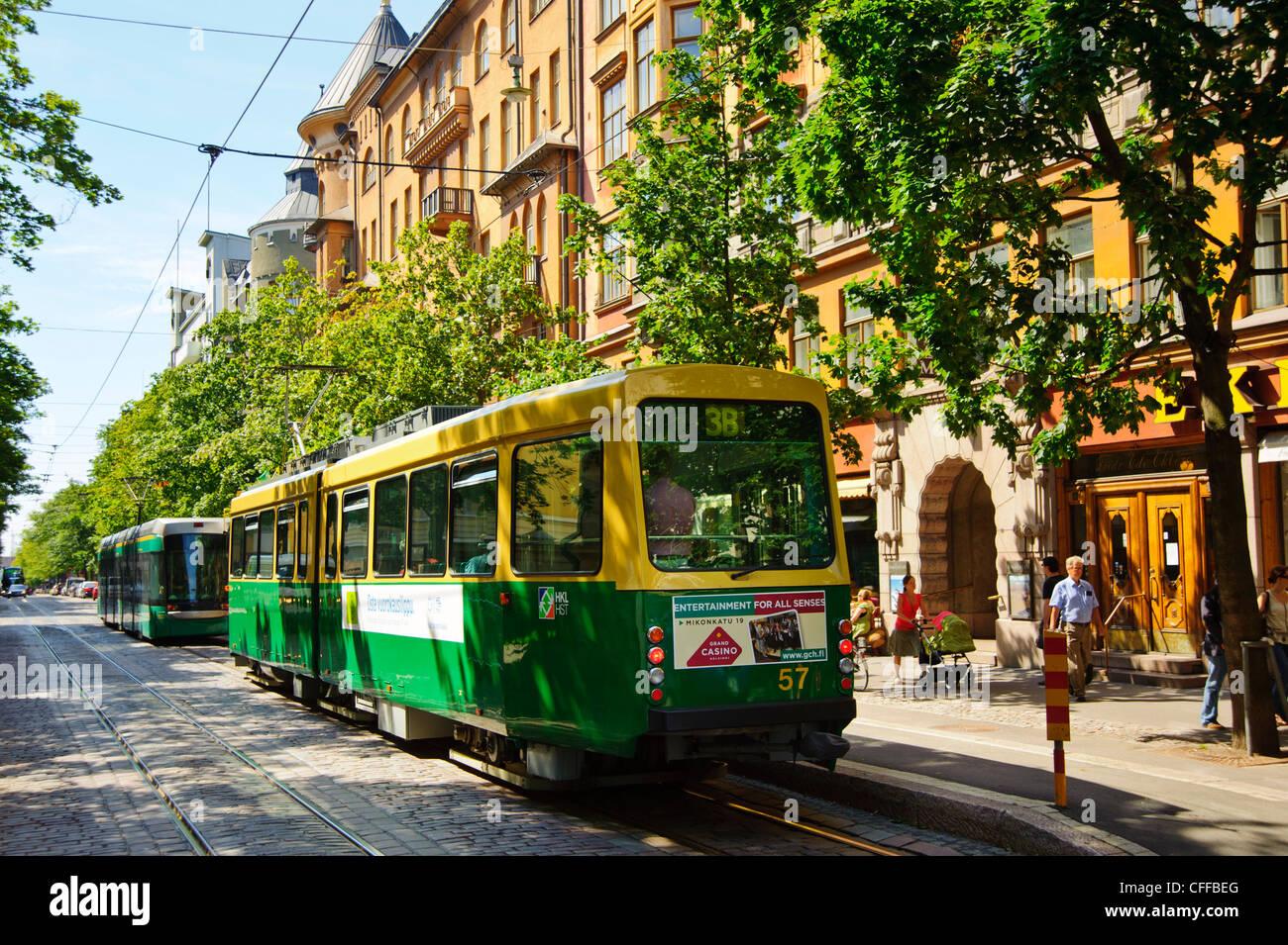 Trams in Helsinki Finland - Stock Image