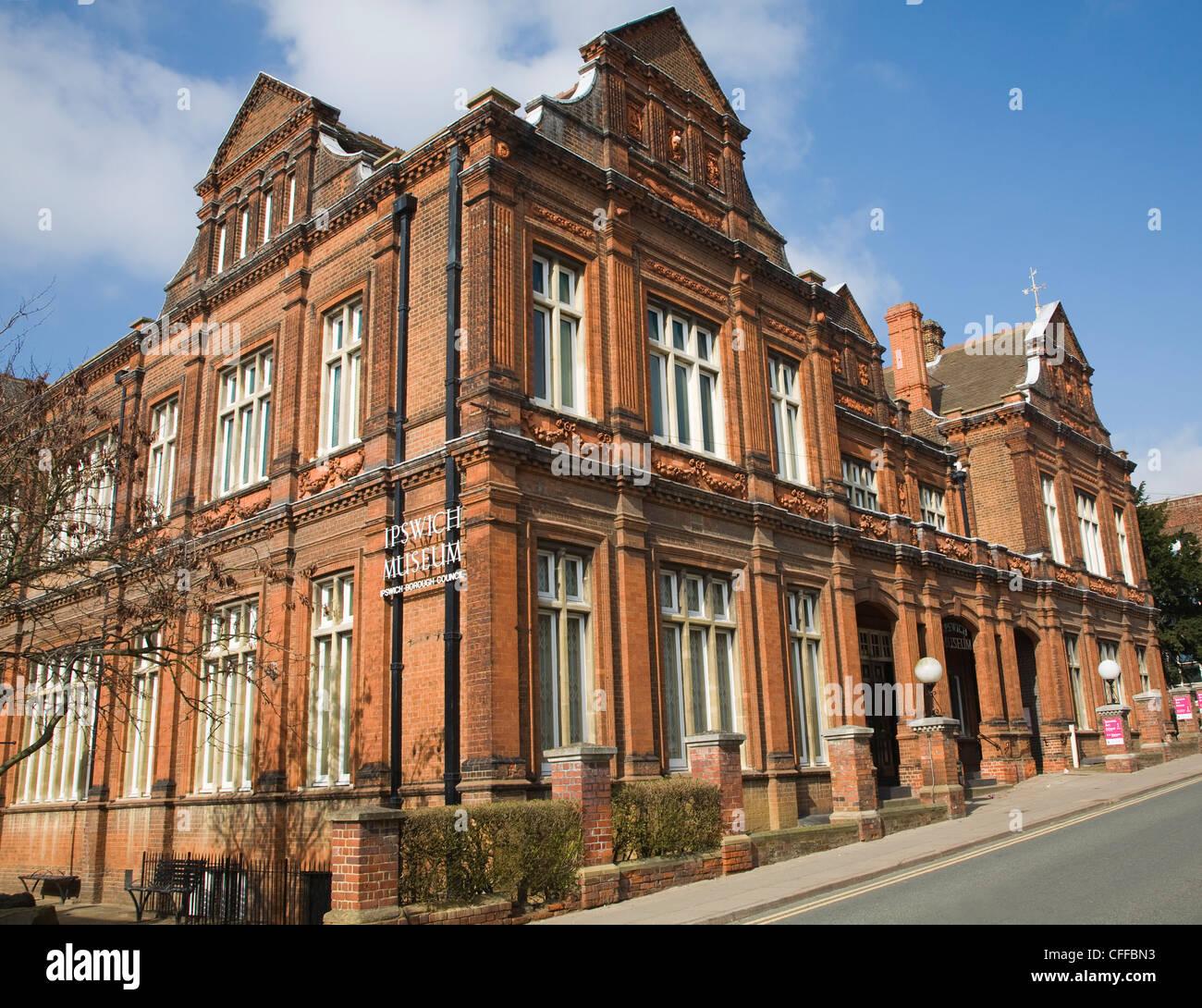 Victorian red brick building Ipswich museum built 1880, Ipswich, Suffolk, England - Stock Image