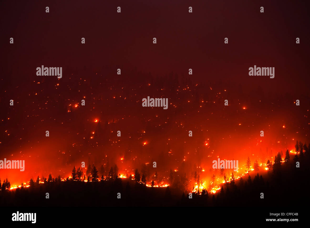 A forrest fire burning the side of a mountain in Montana. - Stock Image