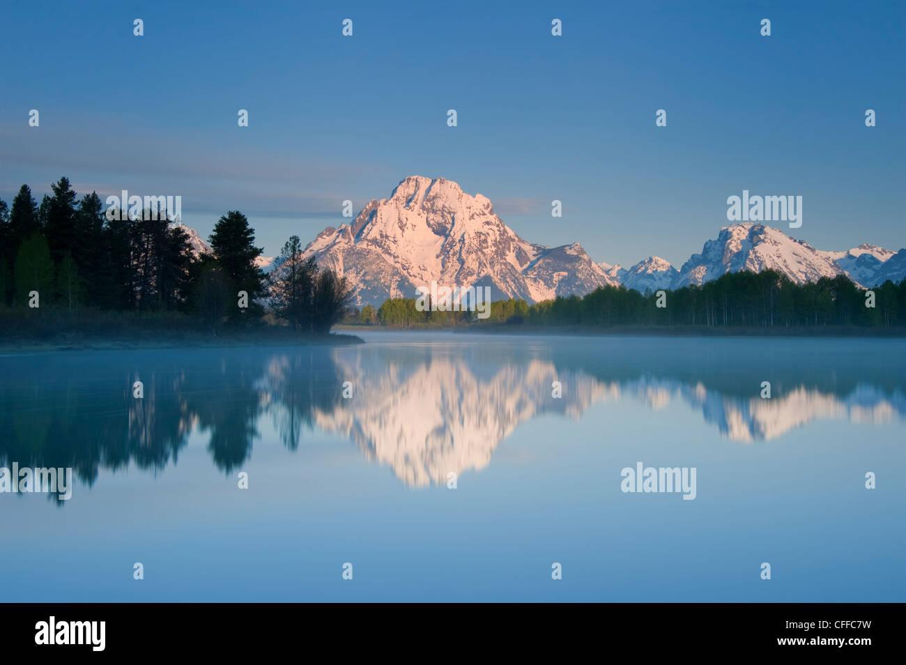 Mount Moran reflected in the Snake River, Grand Teton National Park, Wyoming Stock Photo
