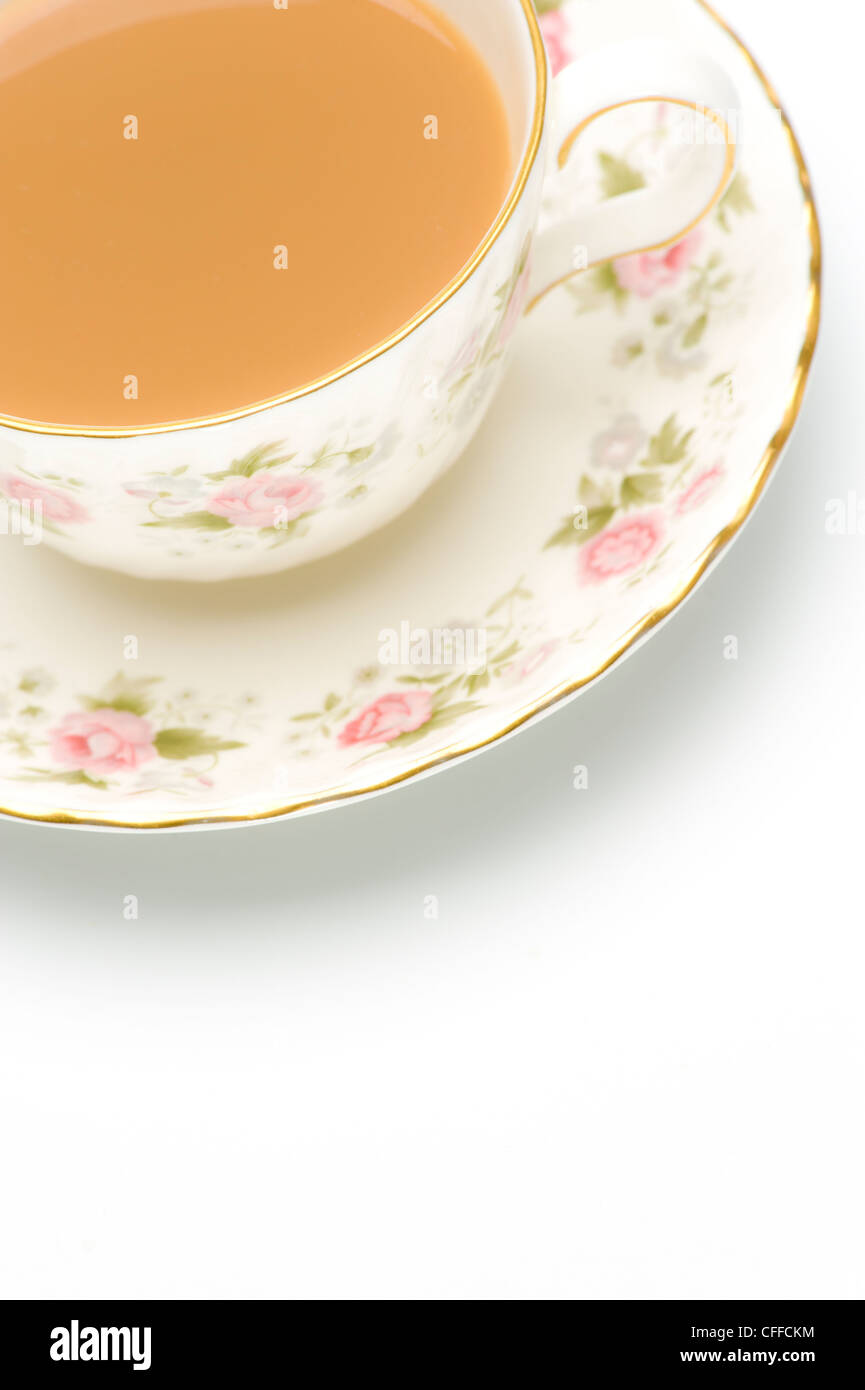 Close up of a china cup and saucer with tea - Stock Image
