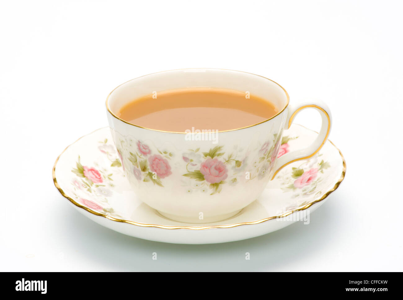 China cup and saucer with tea - Stock Image