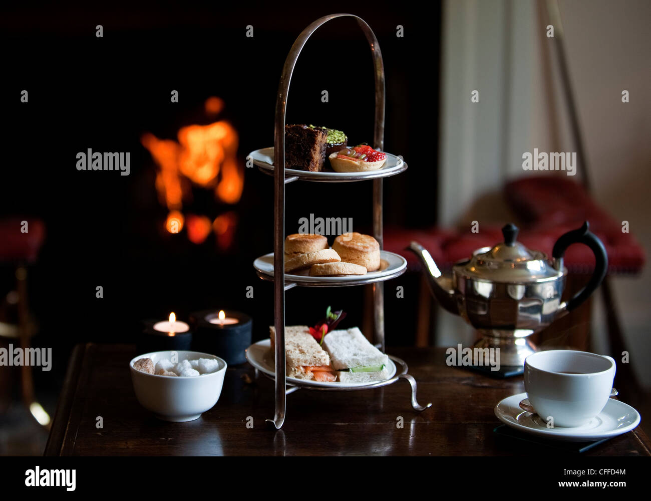 Afternoon tea at Kinloch Lodge on Isle Of Skye - Stock Image