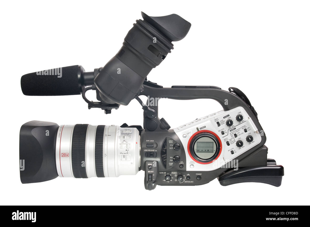 Video camera isolated on white - Stock Image
