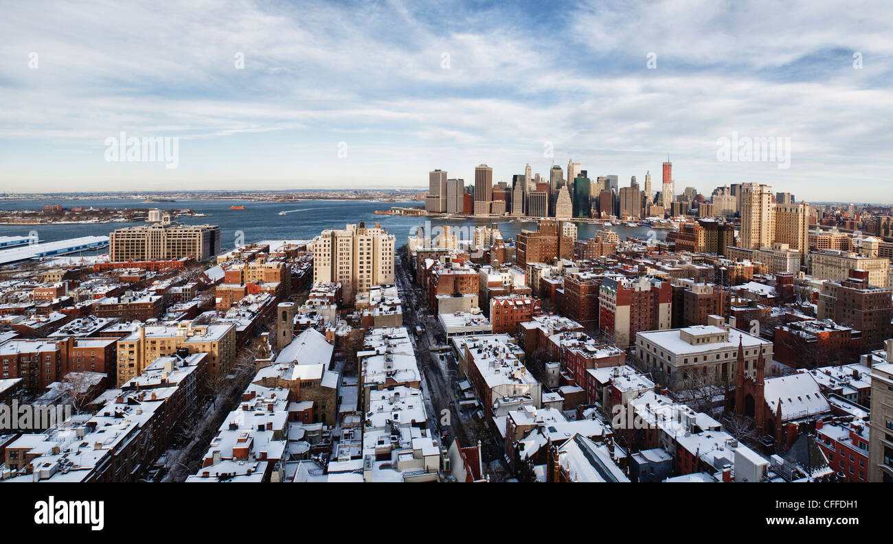 View of Manhattan from Brooklyn after winter snow storm Stock Photo