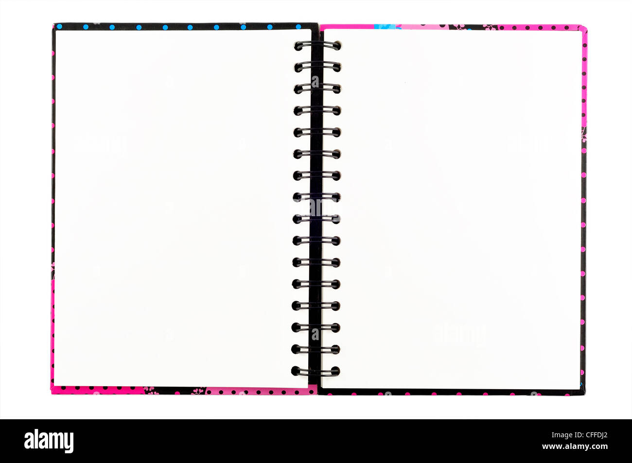 Open blank note book, isolate, on white background - Stock Image