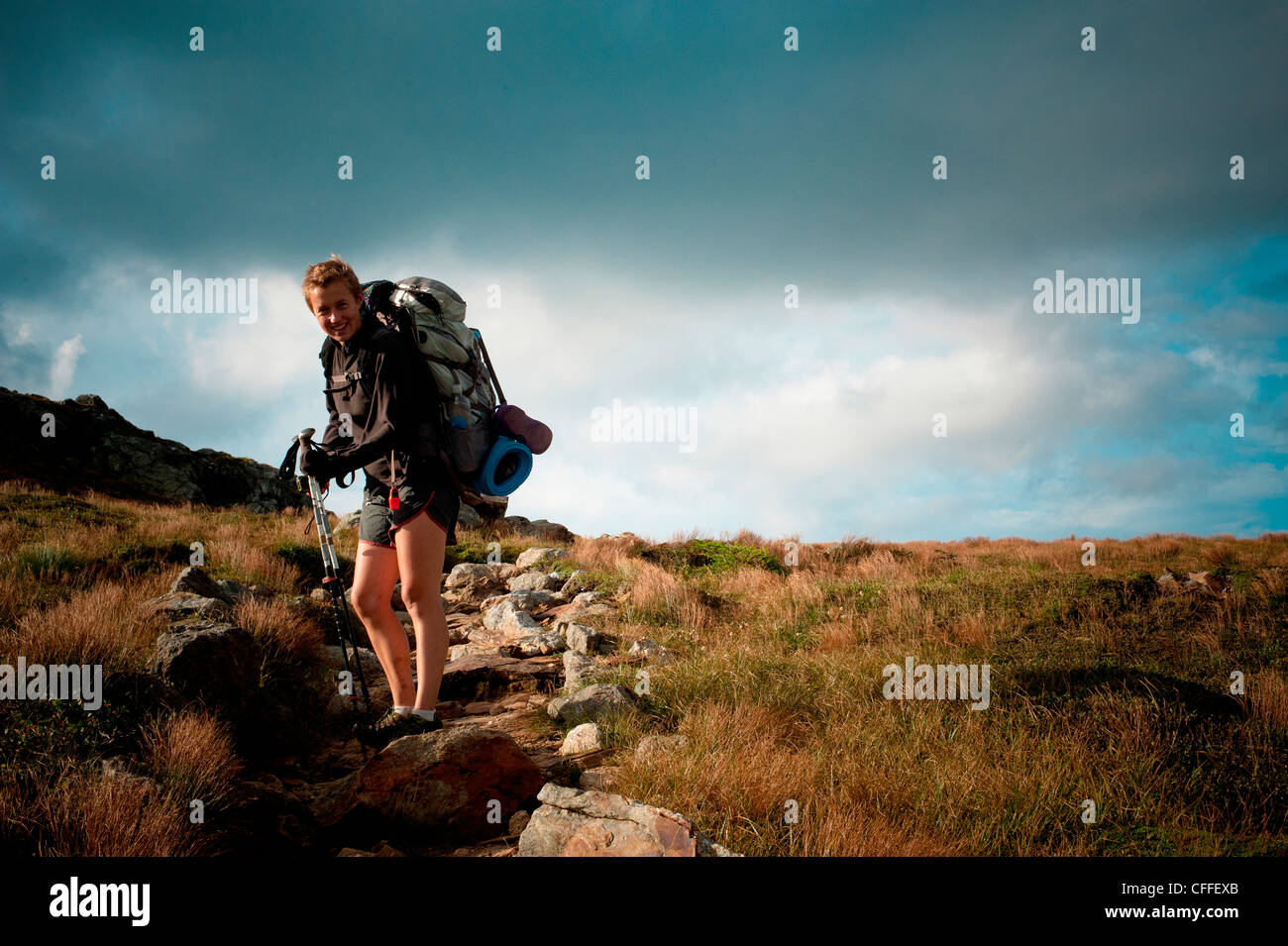 A female hiker on the Appalachian Trail. - Stock Image