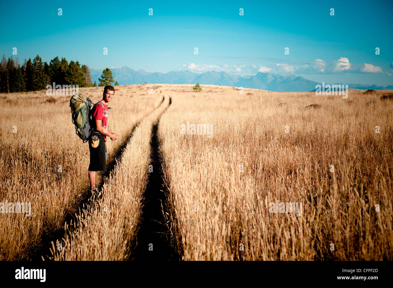 A male hiker in Montana. - Stock Image