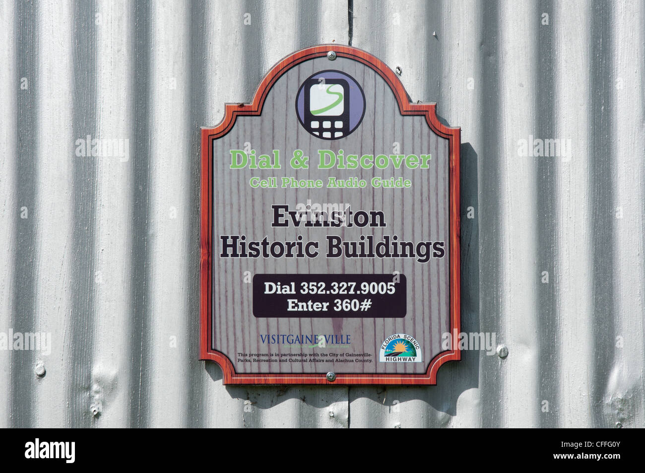 Evinston Florida  the historic Woods Packing House-- a cell phone audio guide &  commemorative guide sign along - Stock Image