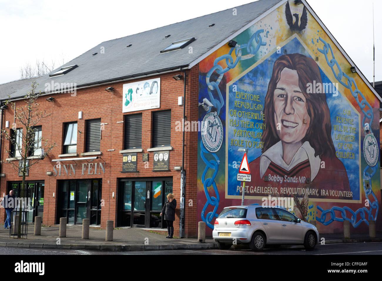 falls road sinn fein headquarters with bobby sands mural Belfast Northern Ireland UK - Stock Image