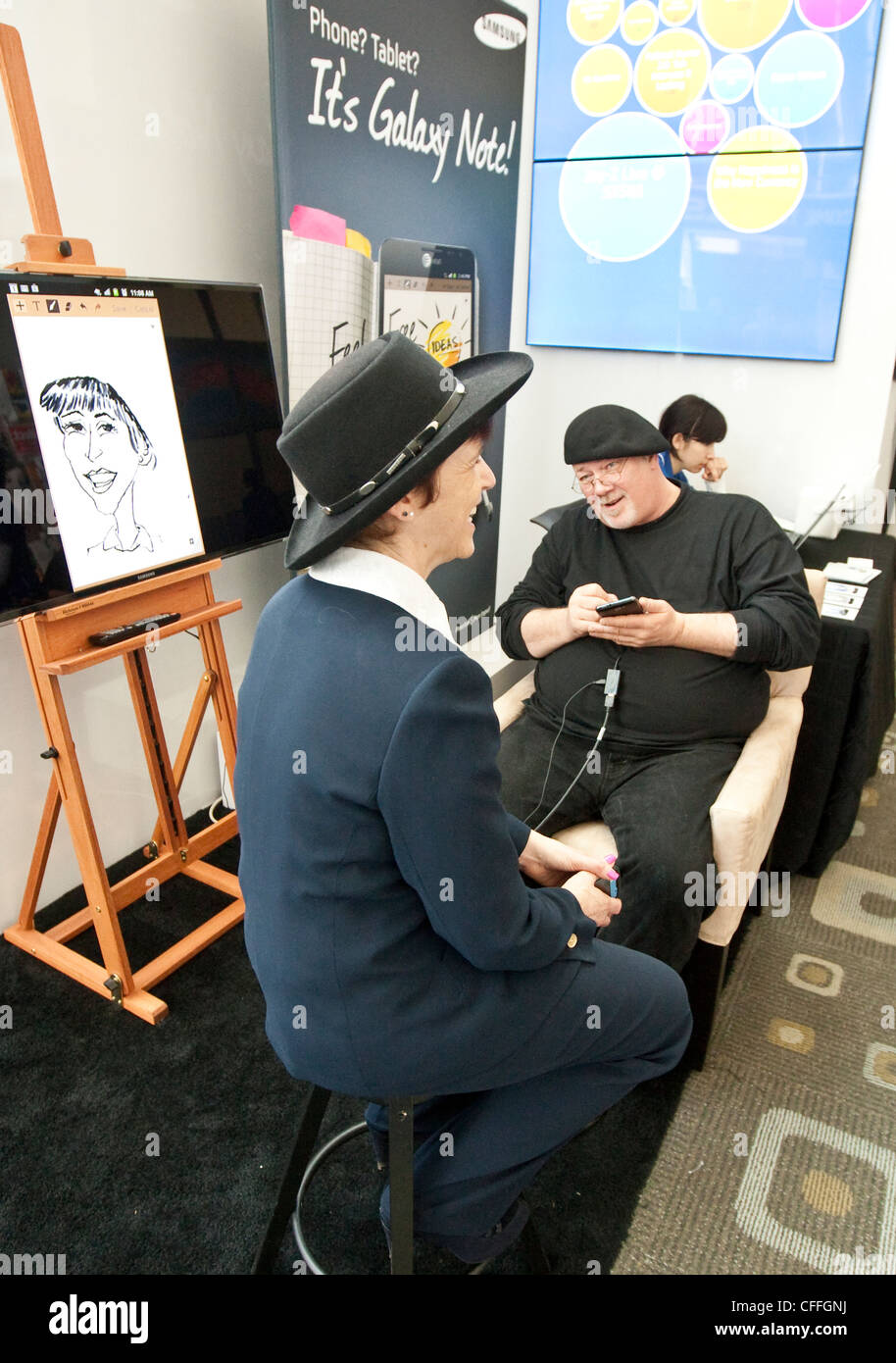 SXSW Interactive convention draws thousands of tech-savvy attendees. Including Samsung employees demonstrating new - Stock Image