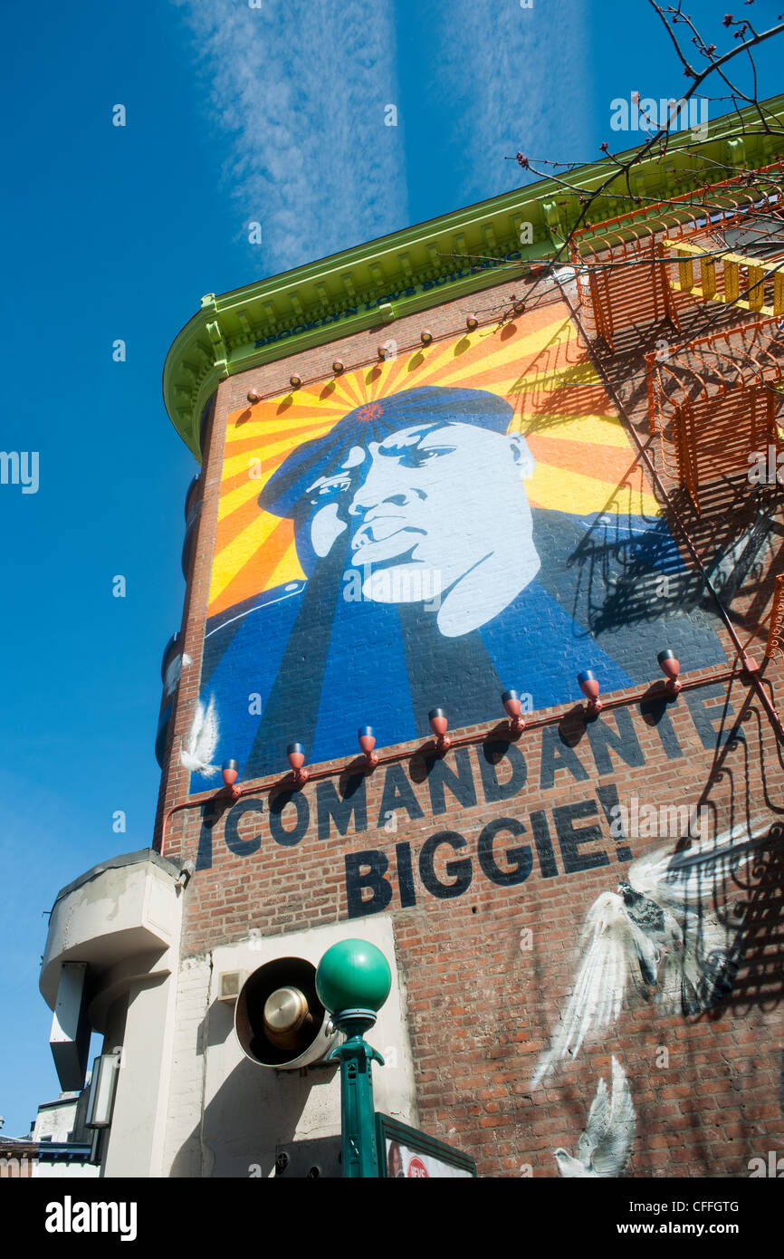 Mural of the late musician Biggie Smalls on the side of a building in the Fort Greene neighborhood of Brooklyn in - Stock Image