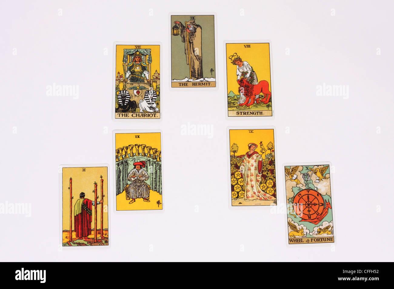 A tarot reading using 7 cards. - Stock Image