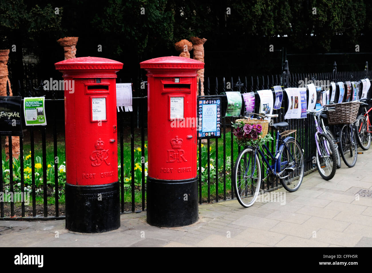 Post Boxes and Bicycles, Market Square, Cambridge, England, UK - Stock Image