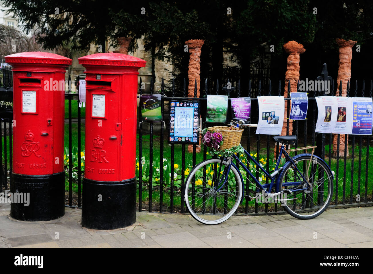 Post Boxes and Bicycle by Market Square, Cambridge, England, UK - Stock Image