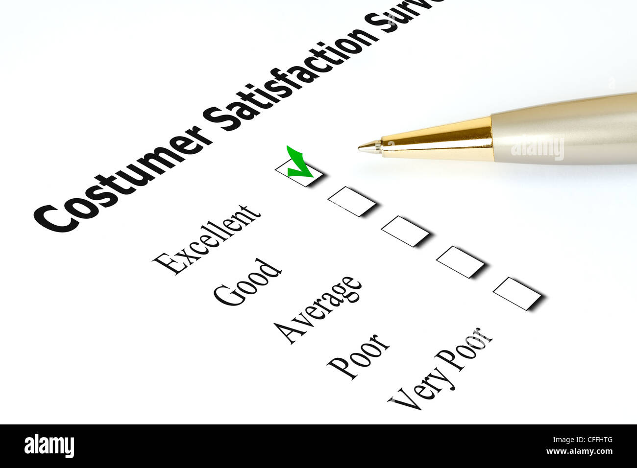 Survey in a white paper, checked in the excellent checkbox. - Stock Image