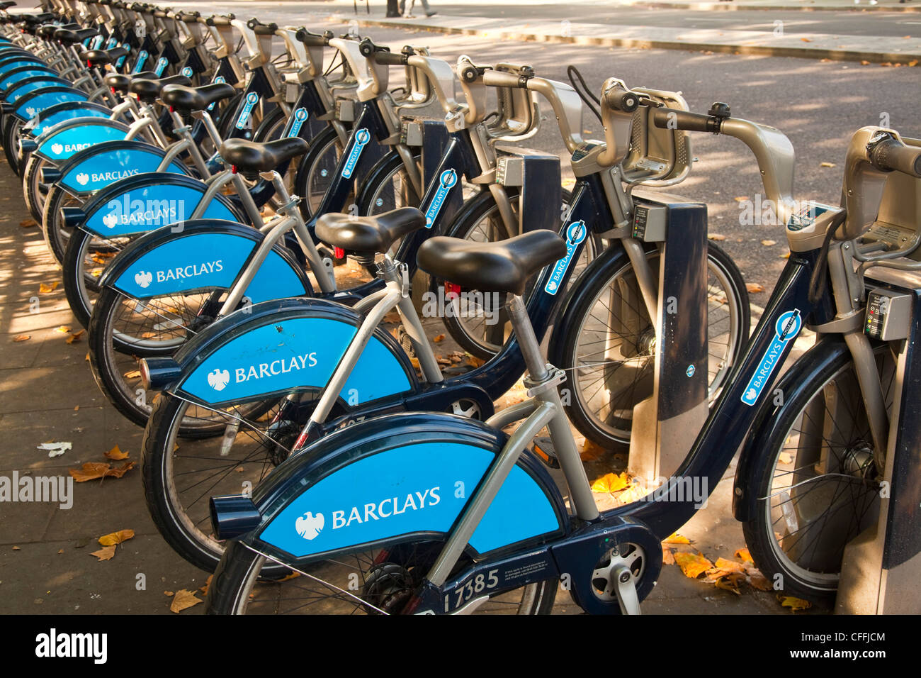 Bikes available for hourly rent in London - Stock Image