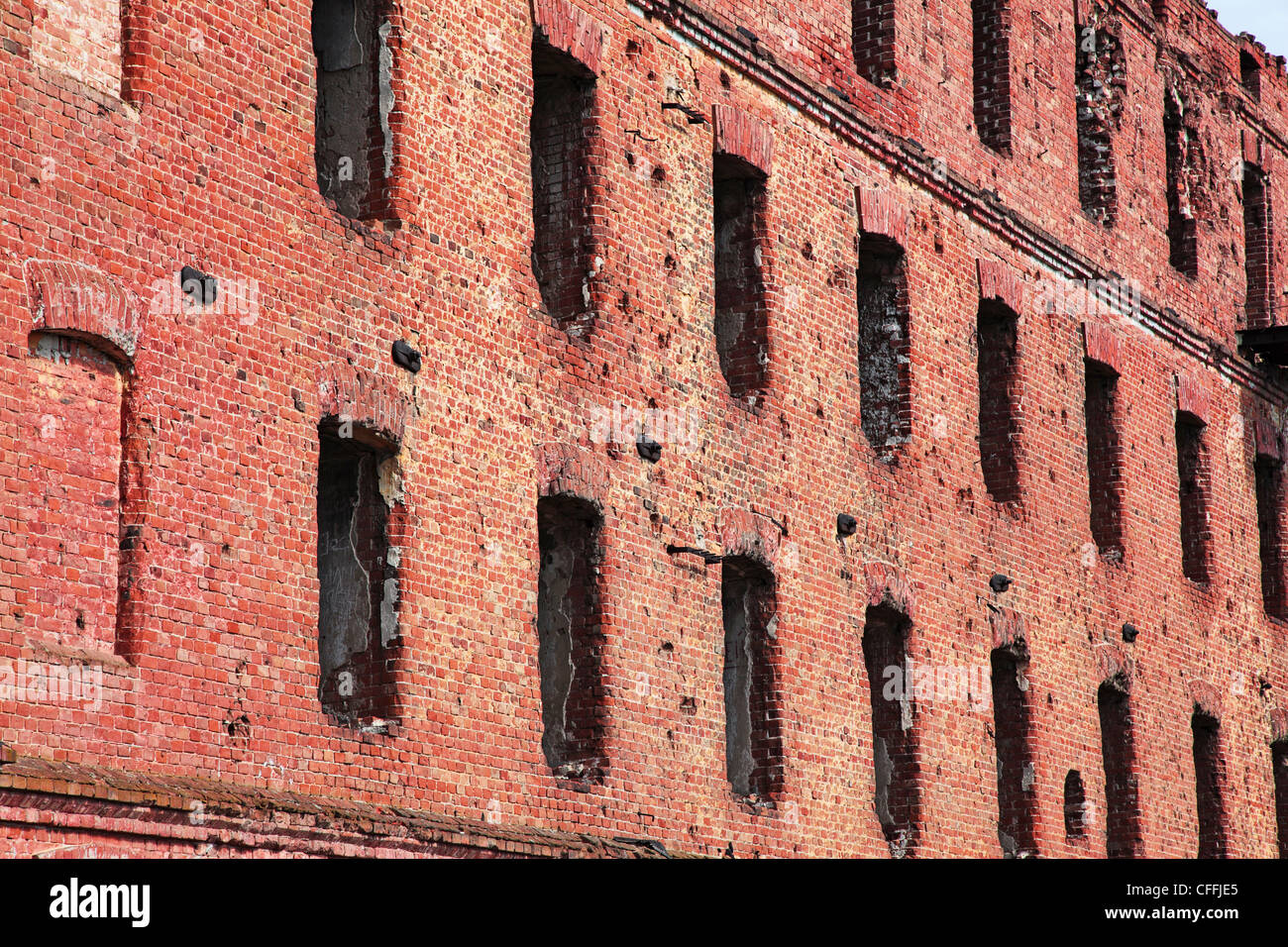 Old abandoned brick building close-up. - Stock Image