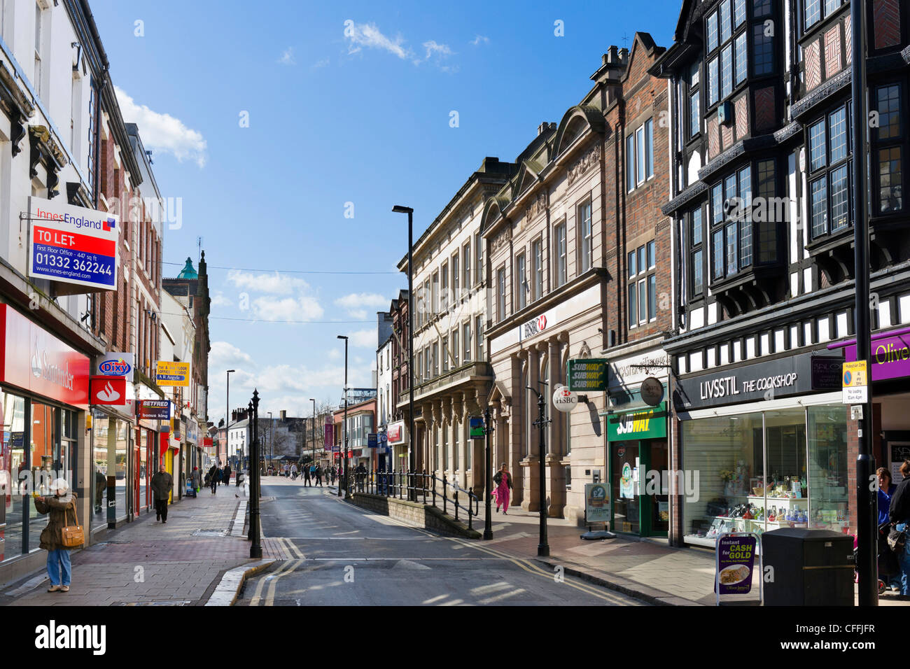 Shops on the High Street in Burton-upon-Trent, Staffordshire, England, UK - Stock Image