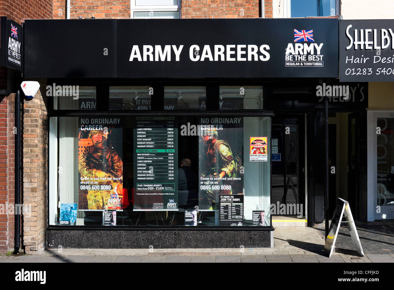 Army Careers office in the town centre, Burton-upon-Trent, Staffordshire, England, UK - Stock Image
