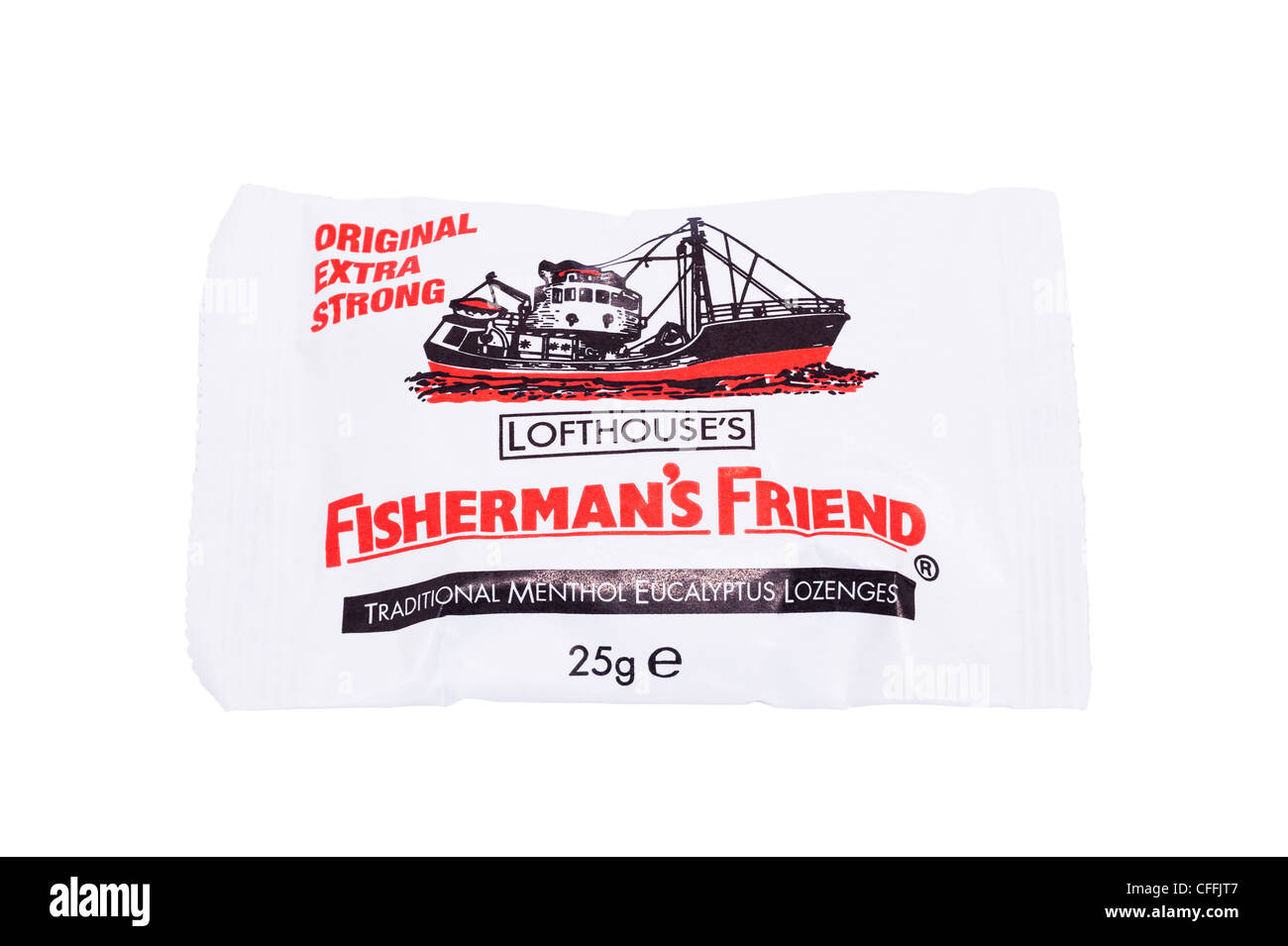 A pack of Lofthouse's Original Extra Strong Fisherman's Friend Lozenges on a white background - Stock Image