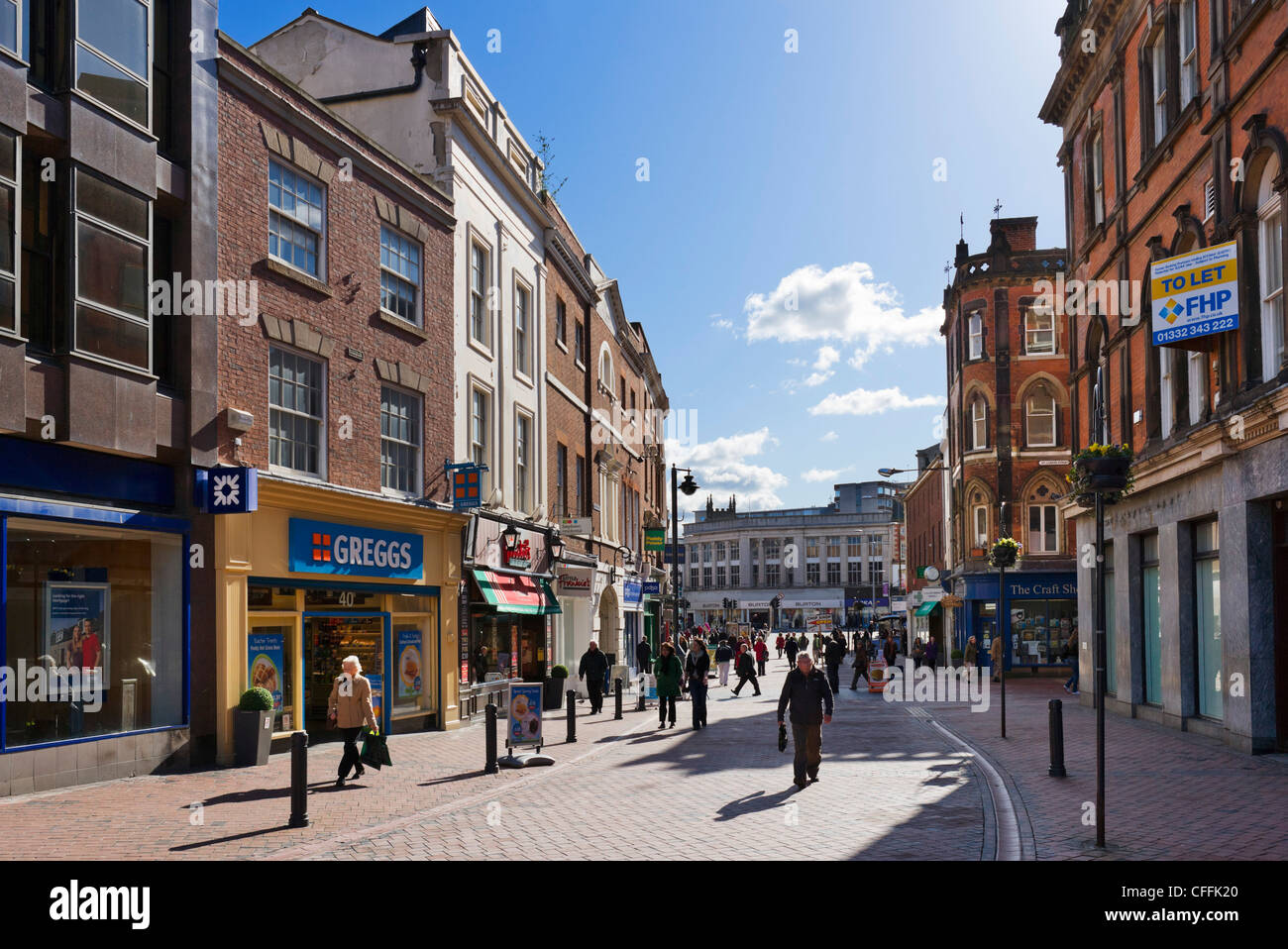 Shops on Cornmarket in the city centre, Derby, Derbyshire, East Midlands, England, UK - Stock Image
