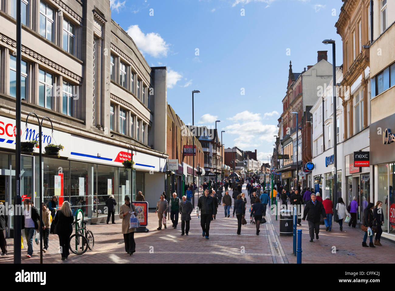Shops on St Peters Street in the city centre, Derby, Derbyshire, East Midlands, England, UK - Stock Image