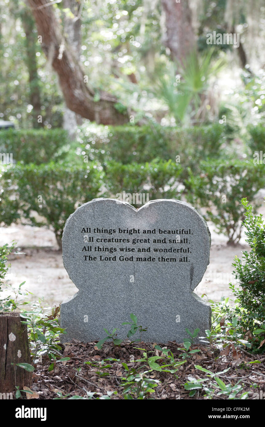 The Garden of Love pet memorial park and cemetery in Micanopy, Florida. - Stock Image