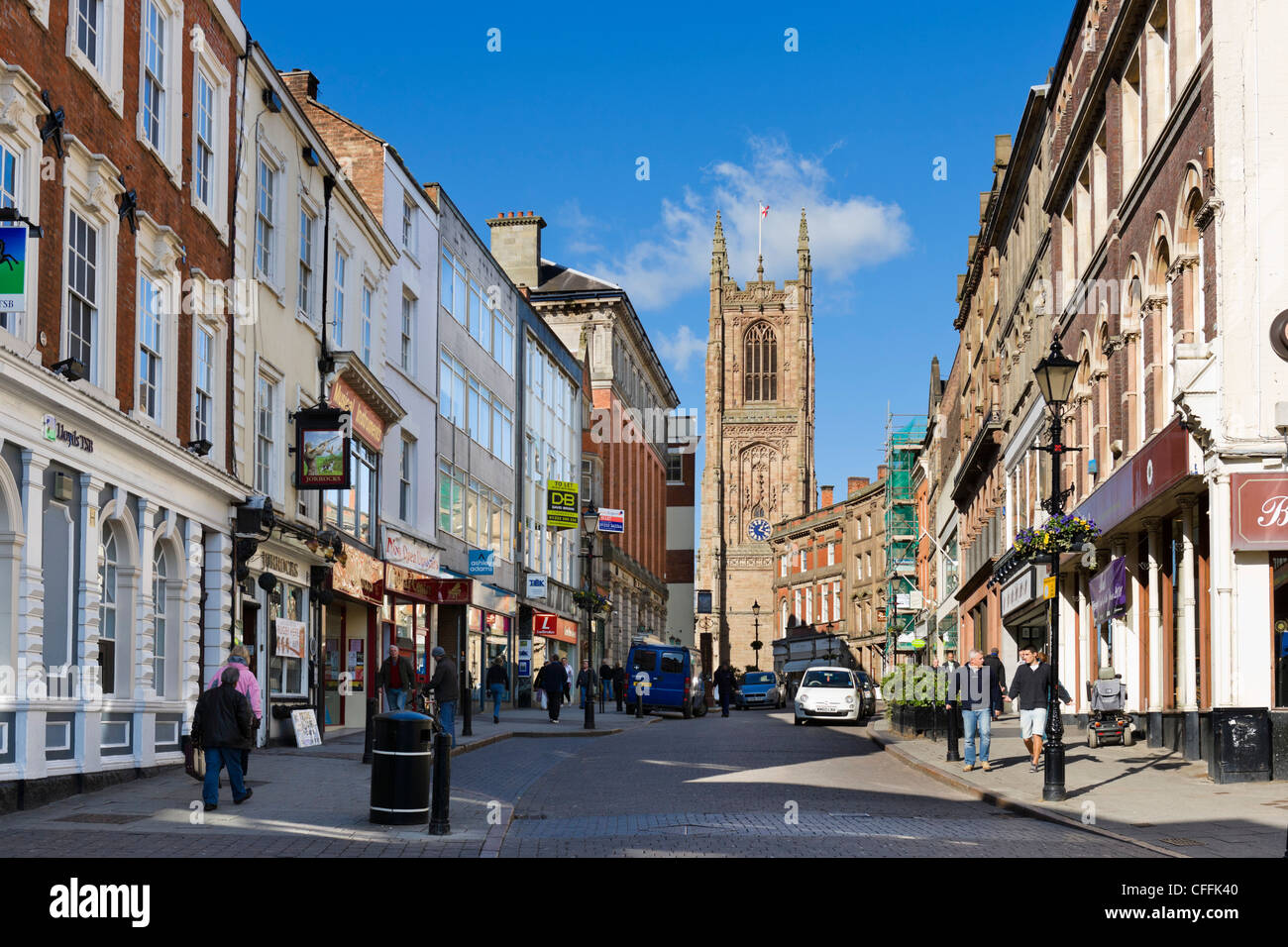 View down Iron Gate in the city centre looking towards the cathedral, Derby, Derbyshire, East Midlands, England, - Stock Image