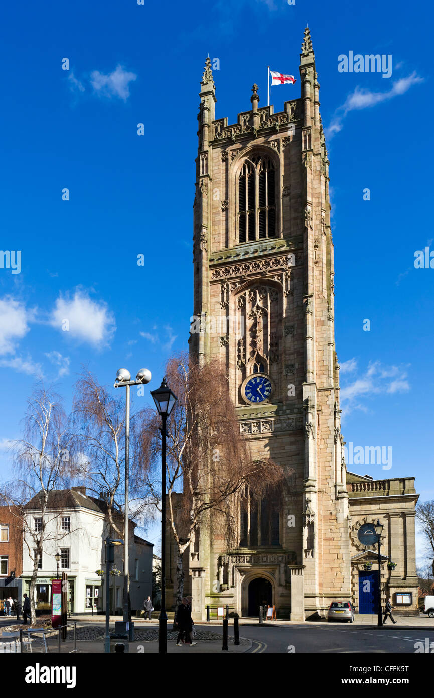 The front of the cathedral, Derby, Derbyshire, East Midlands, England, UK - Stock Image