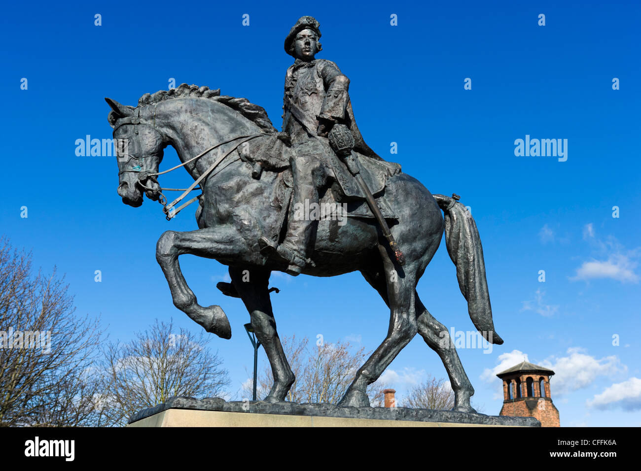 Statue of Bonnie Prince Charlie by Anthony Stones on Cathedral Green, Derby, Derbyshire, East Midlands, England, - Stock Image