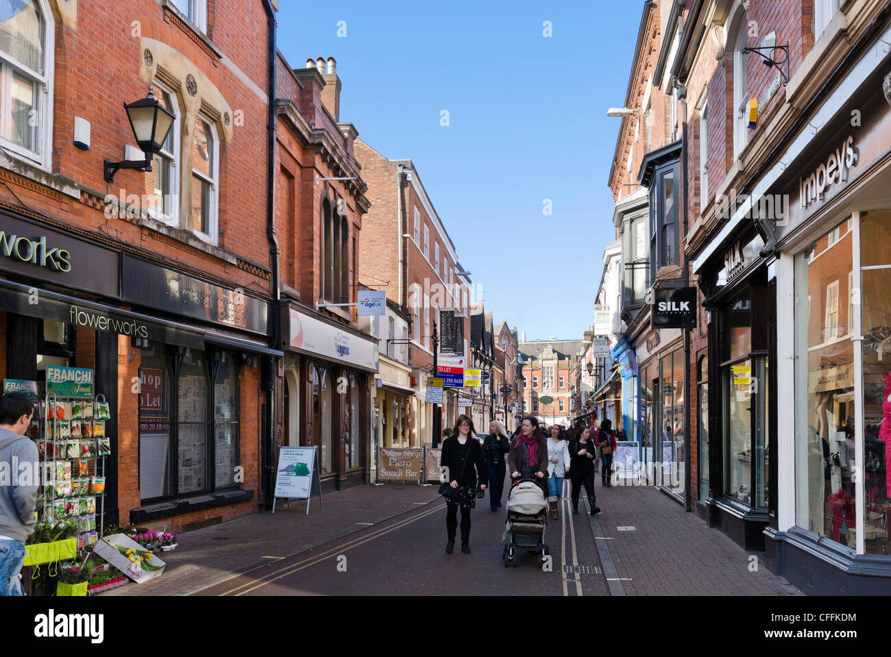 Shops on Loseby Lane in the city centre, Leicester, Leicestershire, England, UK - Stock Image