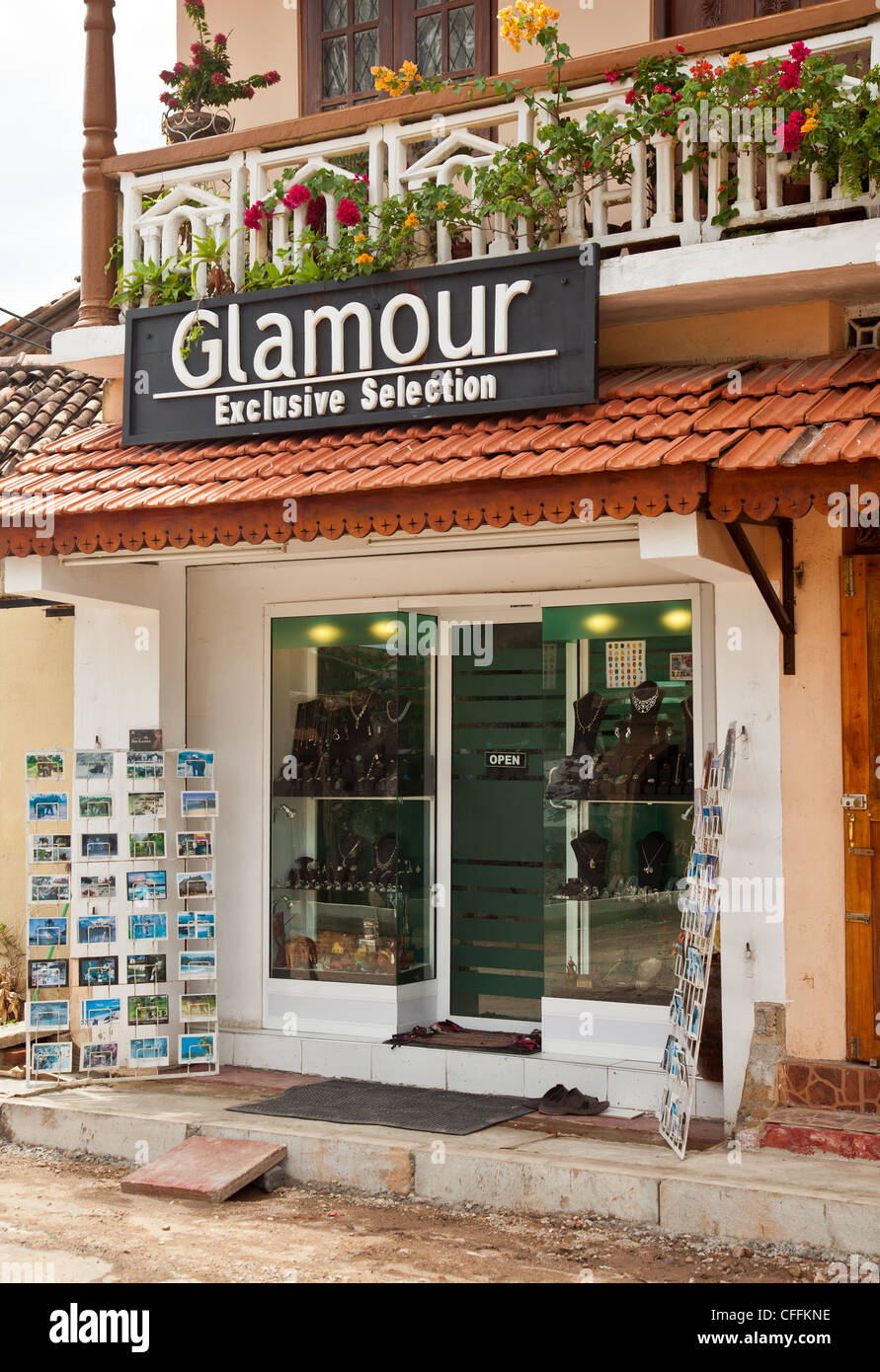 Entrance to a shop selling gemstones and jewellery, with postcards and other suovenirs, in Galle, southern Sri Lanka. - Stock Image