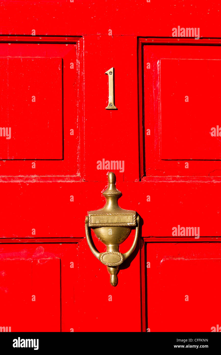 Red door with number 1, England, UK - Stock Image