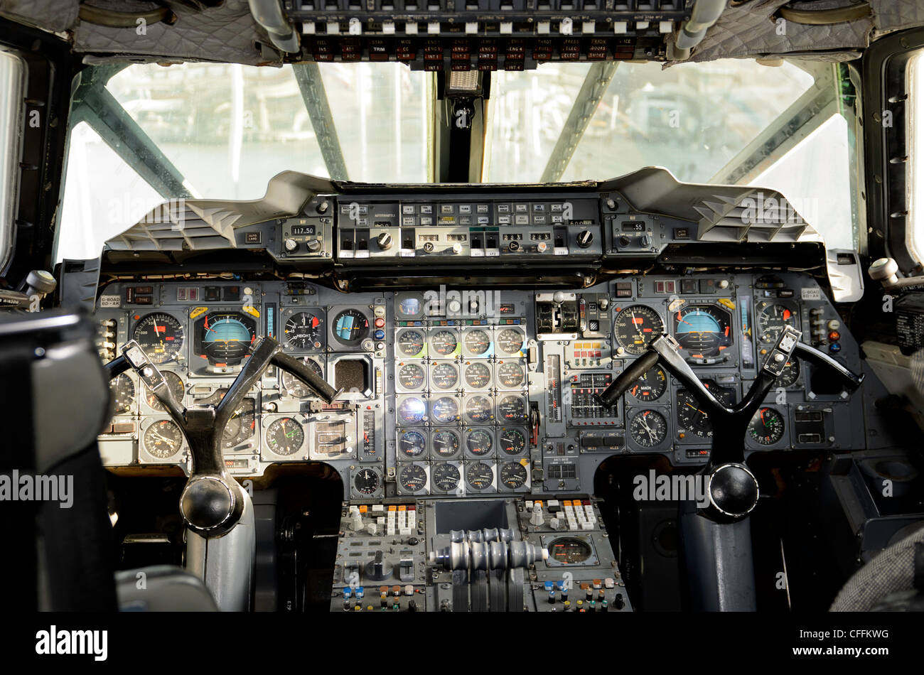 The cockpit of British Airways Concorde, G-BOAD - Stock Image