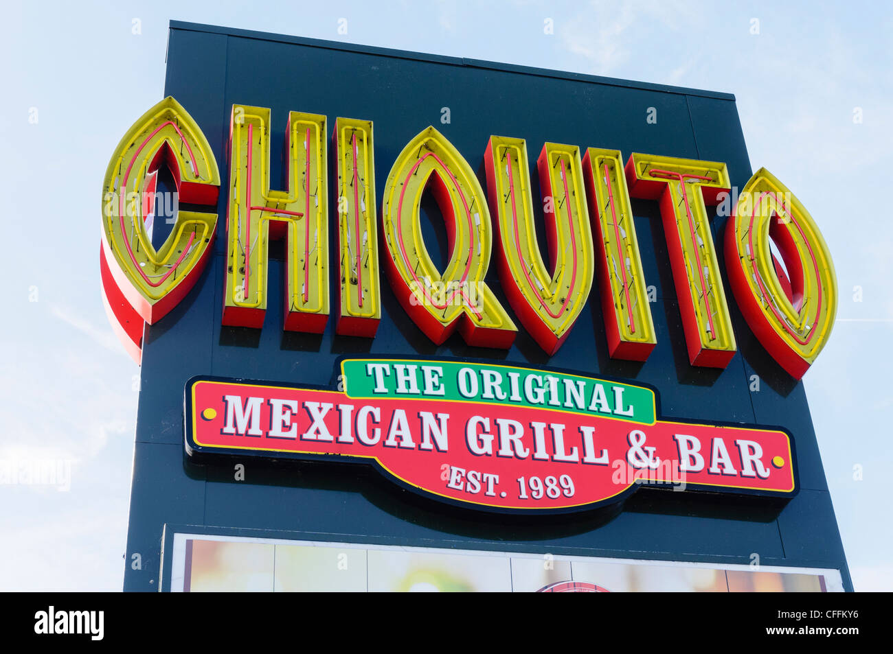 Sign for Chiquito mexican grill and bar Stock Photo
