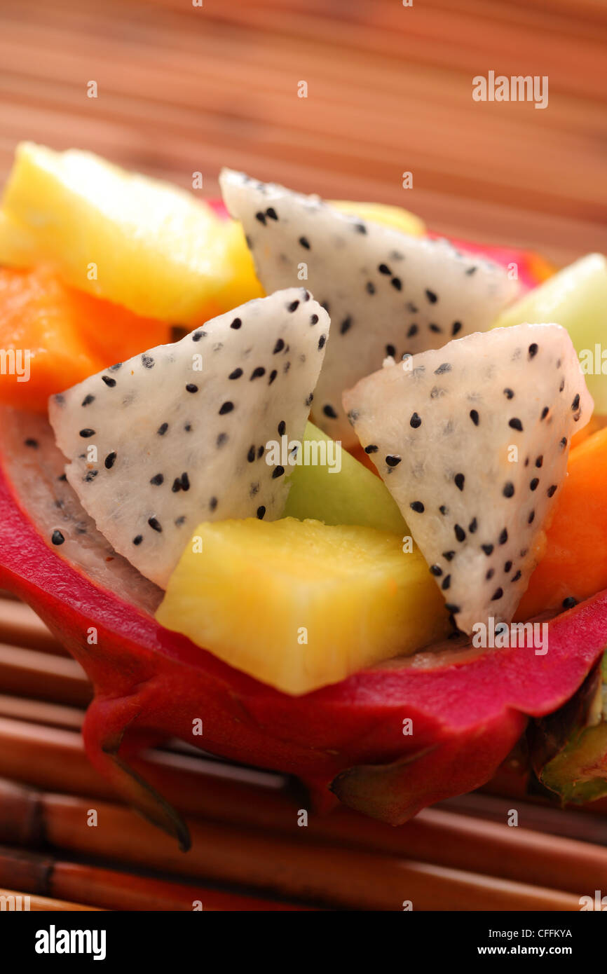 Dragonfruit tropical salad closeup - Stock Image