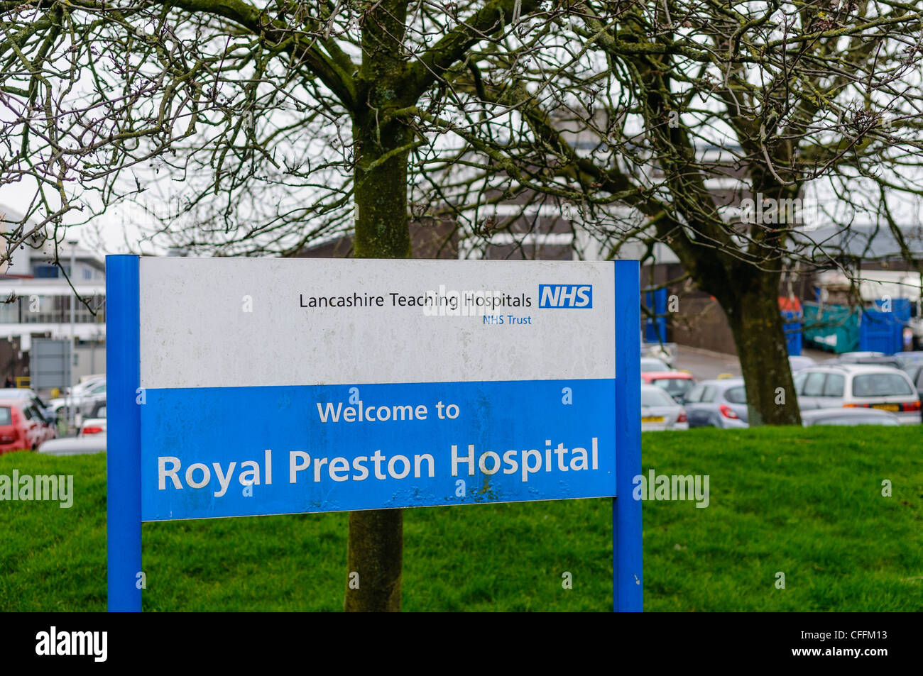 Sign at entrance to Royal Preston Hospital - Stock Image