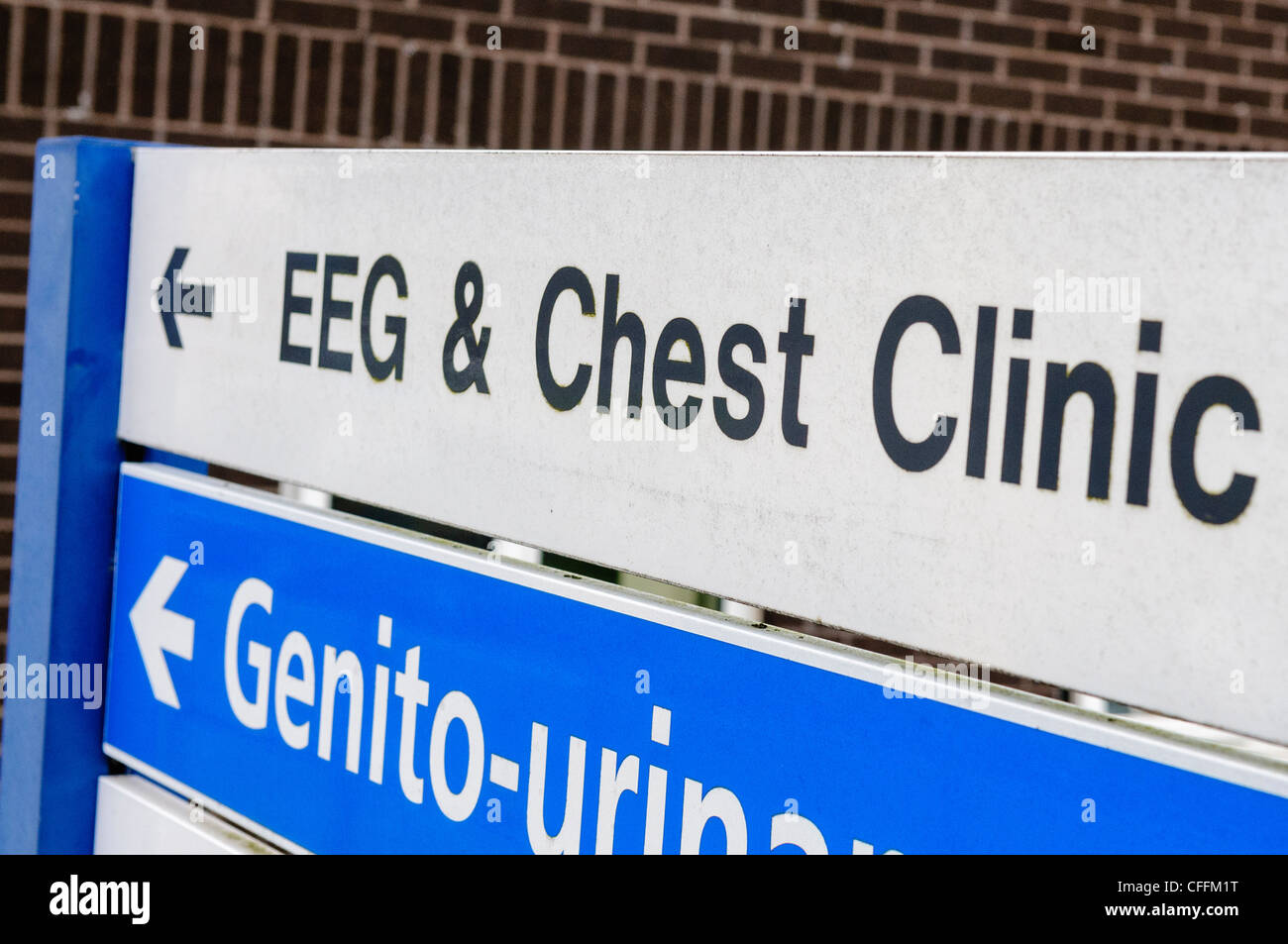 Sign at hospital for EEG and Chest Clinic - Stock Image