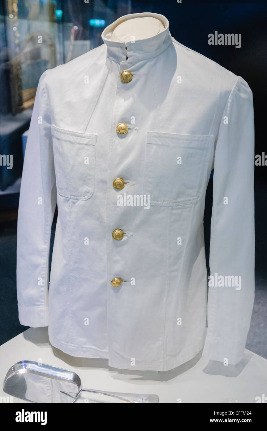White Star Line waiter's uniform, as worn on the Titanic on display at the Titanica Exhibition, Belfast - Stock Image