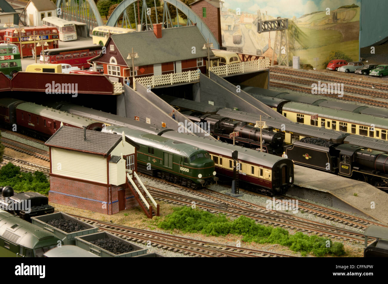 Model Railway Layout showing various trains and models Stock Photo