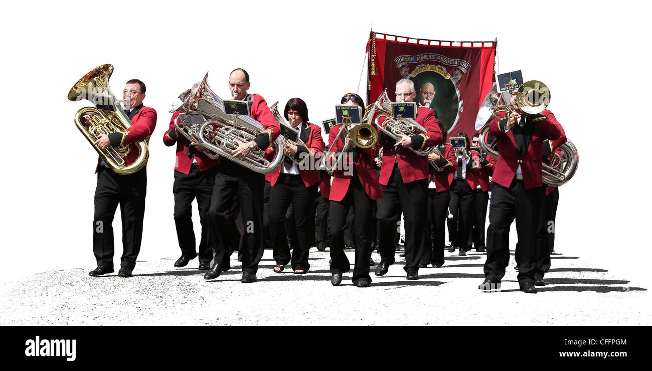 Wheatley Hill band and banner during the 2009 miners gala, Durham Big Meeting, - Stock Image