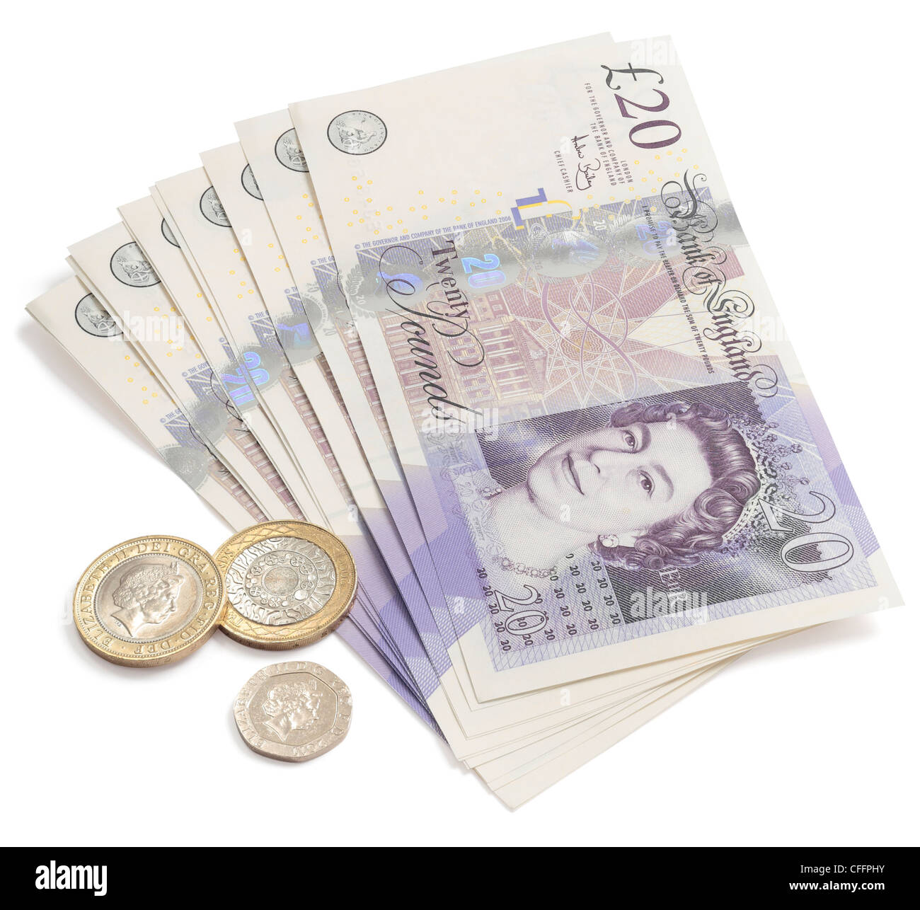 Fan of twenty pound notes and coins. - Stock Image