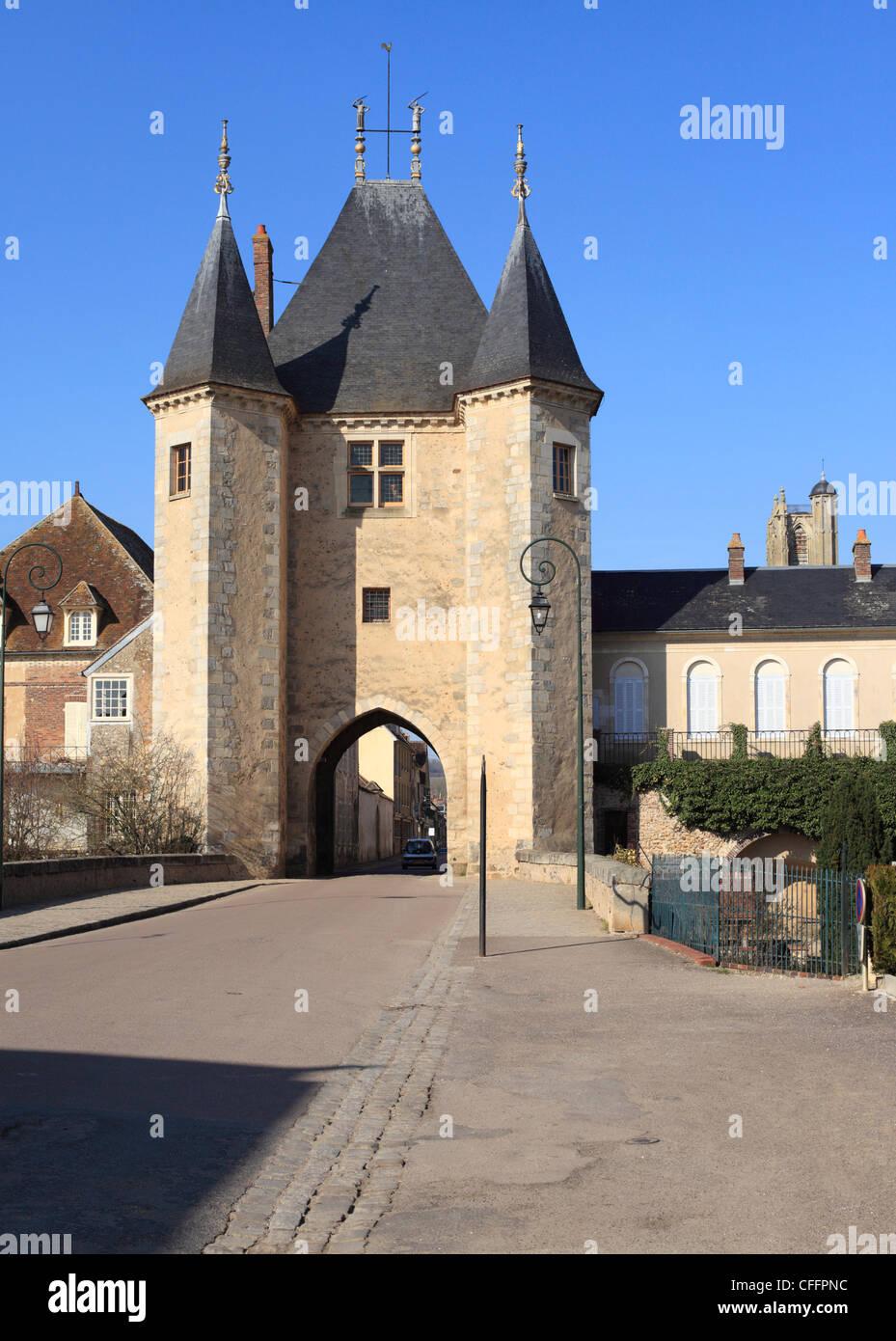 Villeneuve sur Yonne - Porte de Joigny or Joigny Gate. - Stock Image
