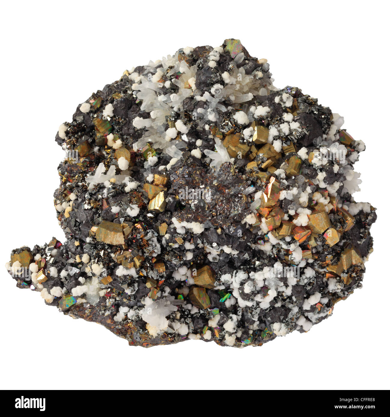 Mineral of sphalerite, iron pyrite, calcite and quartz from the Andes. - Stock Image