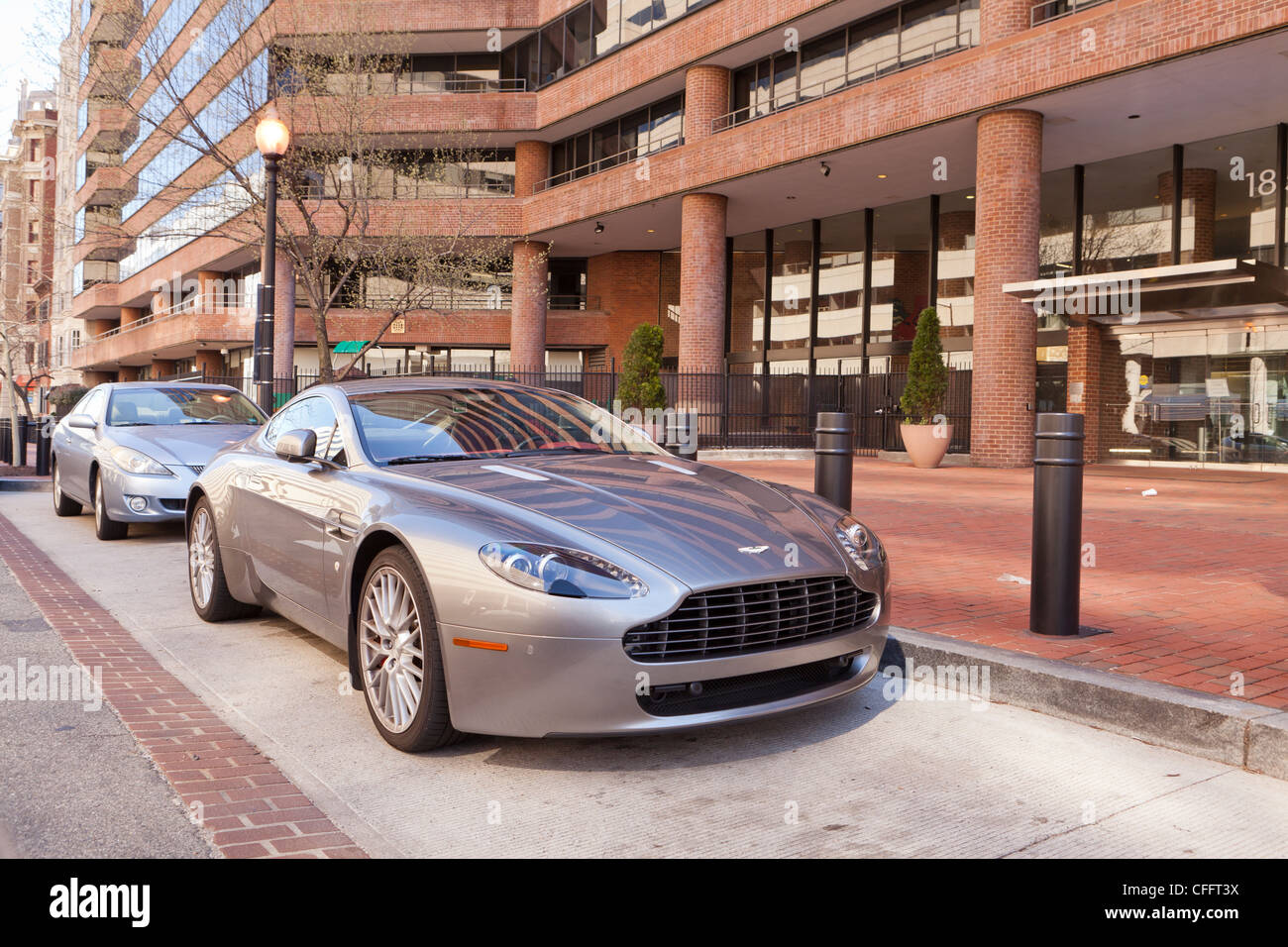 A parked Aston Martin Vantage sports car - Stock Image