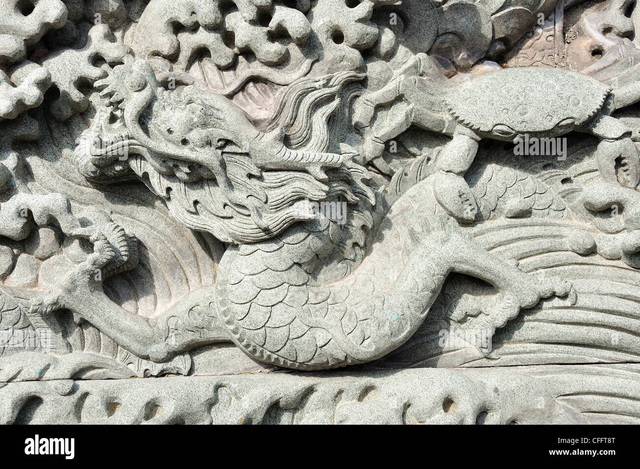 Typical Chinese carven dragon on wall expressing power and status in ancient thailand - Stock Image